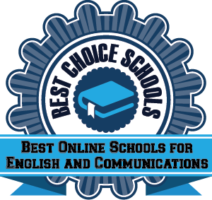 Best Online Schools for English and Communications badge